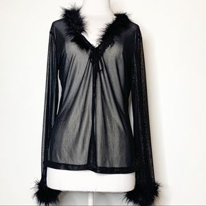 Rave Y2K feather trimmed glitter sheer cardigan